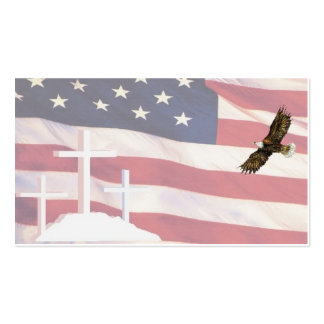 Cross & Flag BC w eagIe 5-10 Double-Sided Standard Business Cards (Pack Of 100)