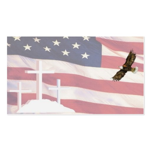 Cross & Flag BC w eagIe 5-10 Business Cards