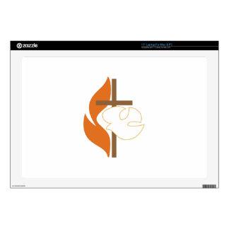 "Cross Flame & Dove 17"" Laptop Skin"