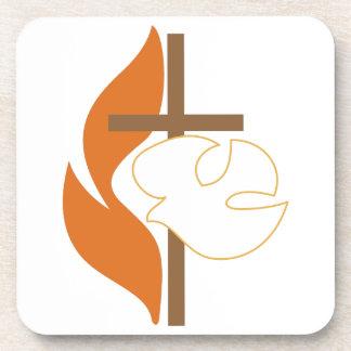Cross Flame & Dove Coaster