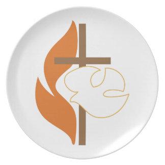 Cross Flame & Dove Melamine Plate