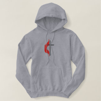 Cross & flame embroidered hoodie