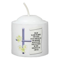 Cross Flowers John 3:16 Scripture Scroll Votive Votive Candle