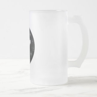 cross frosted glass beer mug