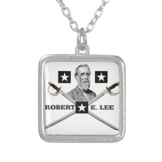 cross general lee silver plated necklace