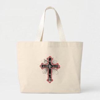 Cross gothic black lines canvas bag