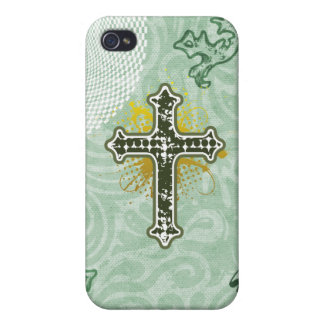 Cross gothic green solid iPhone 4 case