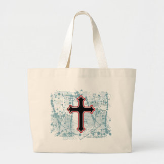 Cross gothic plain solid background canvas bags