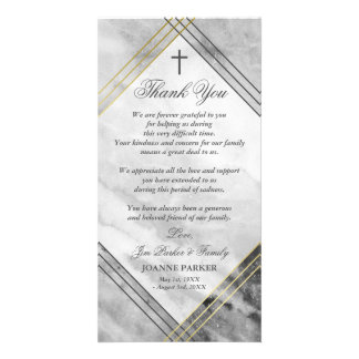 Cross & Gray Marble - Sympathy Thank You Card