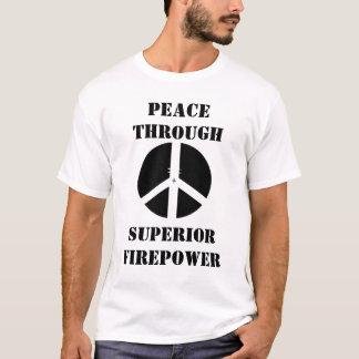 cross hair, PEACE THROUGH, SUPERIOR FIREPOWER T-Shirt