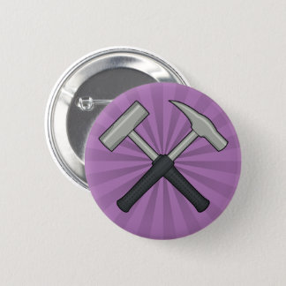Cross Hammers with Sunburst Pinback Button