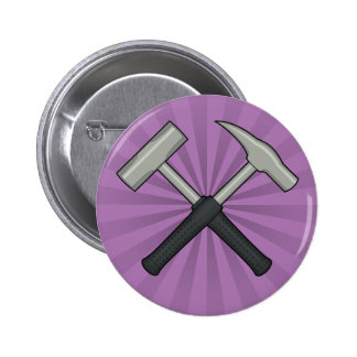 Cross Hammers with Sunburst Pinback Button