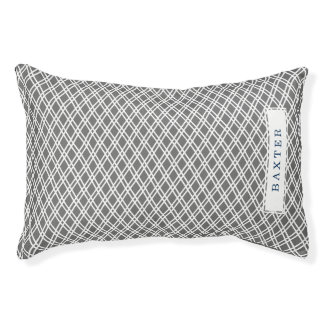 Cross Hatch Pattern - Personalized - Slate Grey Dog Bed