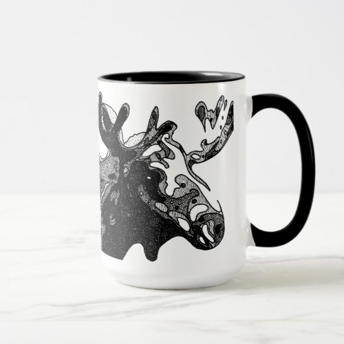 Cross-hatched Moose Mug