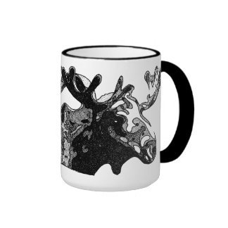 Cross-hatched Moose Coffee Mugs