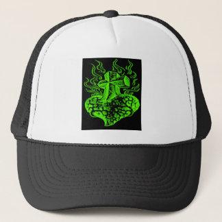 cross & heart green trucker hat