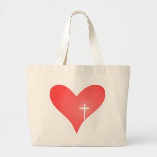Cross/Heart Tote Bag