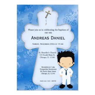 "Cross  Holy Communion Boy 5"" X 7"" Invitation Card"