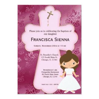 Cross Holy Communion Girl 5x7 Paper Invitation Card