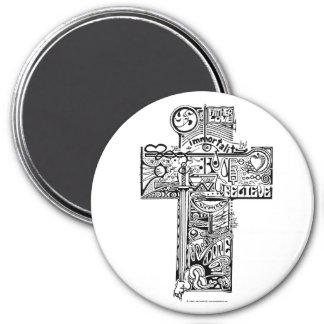 'Cross II' 3 Inch Round Magnet