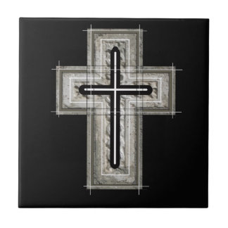 Cross in black and white. tiles