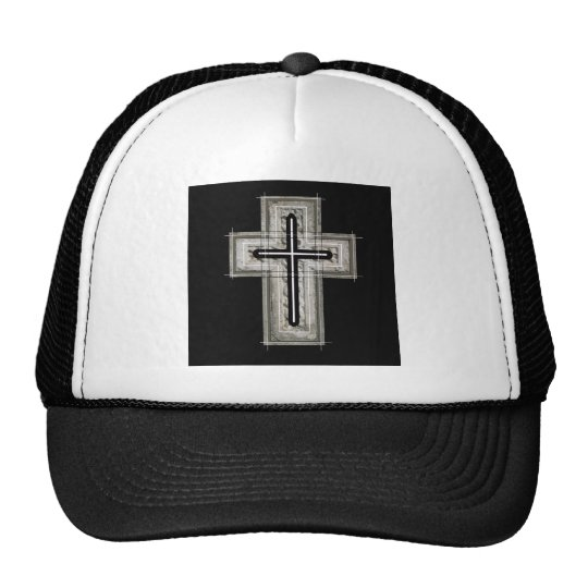 Cross in black and white. trucker hat