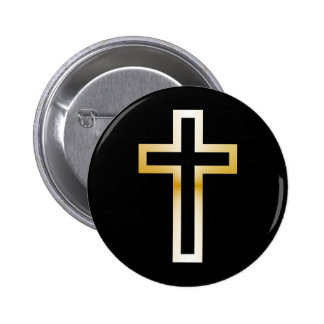 Cross in Black Blue Gold or Silver 2 Inch Round Button