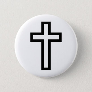 Cross in Black Blue Gold or Silver Button