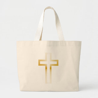 Cross in Black Blue Gold or Silver Large Tote Bag