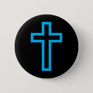 Cross in Black Blue Gold or Silver Pinback Button