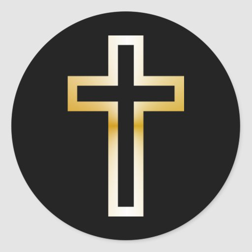 Cross in Black Blue Gold or Silver Classic Round Sticker