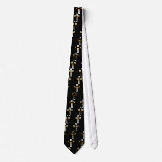 Cross in Black Blue Gold or Silver Tie