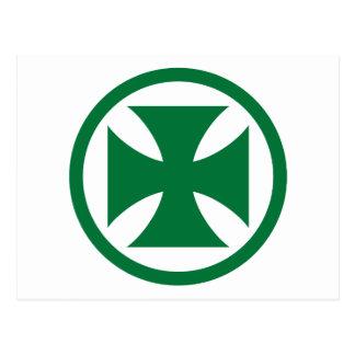 Cross in Circle green Postcard
