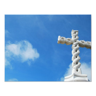 Cross in clouds and blue sky card