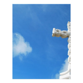 Cross in clouds and blue sky flyer