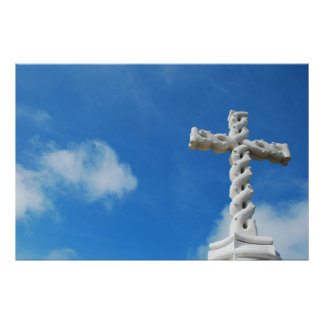 Cross in clouds and blue sky poster