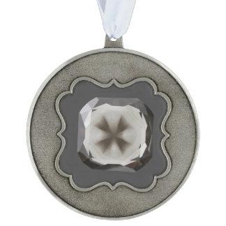 Cross in Diamond™ Pewter Framed Ornament Scalloped Pewter Christmas Ornament