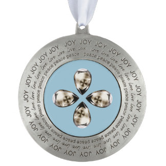 Cross in Diamond™ Pewter Framed Ornament Round Pewter Christmas Ornament