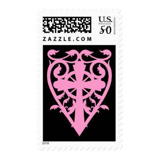 Cross in heart pink black postage