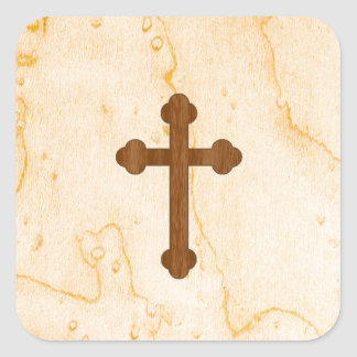 Cross in Light and Dark Wood Look Square Sticker