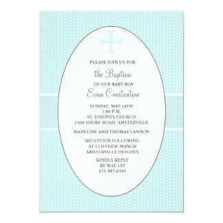 Cross in Oval Frame - Blue Religious Invitation