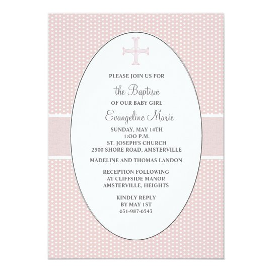 Cross in Oval Frame - Blush Religious Invitation