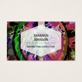 Cross in Tye Dye Colors with Heart Center. Business Card
