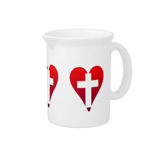 Cross inside red Heart Beverage Pitcher