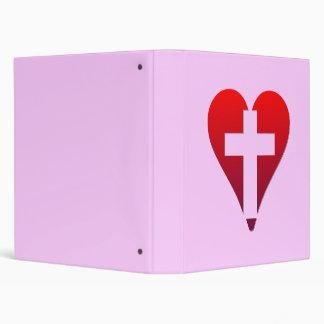 Cross inside red Heart Binder