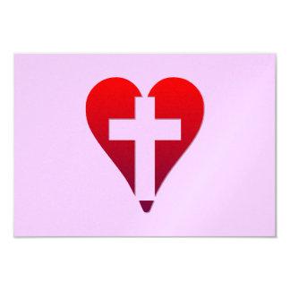 Cross inside red Heart Card