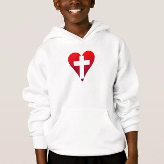 Cross inside red Heart Hoodie