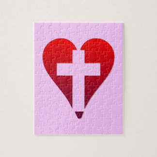 Cross inside red Heart Jigsaw Puzzle