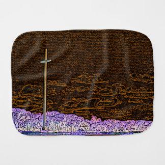 cross invert st augustine sketch landscape baby burp cloth