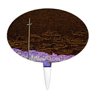 cross invert st augustine sketch landscape cake toppers